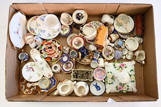 Box Lot of Miniature China Tea Sets, to include Limoges, Crown Staffordshire, Foley China, and Lasserre, height of tallest 2 inches.