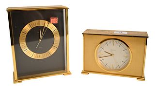 Two Tiffany and Company Desk Clocks, to include brass quartz clock, model number 2048, along with a rectangular desk clock 2202, quartz height 8 inche