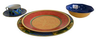 """62 Piece Laure Japy Limoge Dinnerware, in the patterns of """"Terra Nova"""" and """"Provence"""" to include 12 dinner plates, 12 luncheon plates, 12 bowls, 12 sa"""