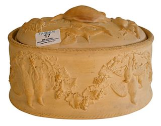 Stoneware Lidded Game Pie Dish, having liner and wildgame relief throughout, not marked, length 10 1/2 inches, height 7 inches.