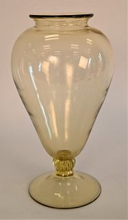 """Large Danghia Yellow Glass Vase, signed to the foot """"Danghia 99"""", height 13 1/2 inches. Provenance: Waterfront Estate, Stamford, CT."""