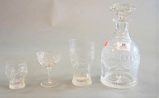 23 Piece Cut Glass Decanter Set, having four decanters along with 19 matching glasses in three sizes, decanter height 9 1/2 inches. Provenance: Waterf