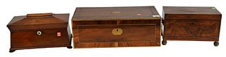 Three Piece Lot, to include a brass inlaid rosewood tea box having carrying handles on brass ball feet, a mahogany tea box in sarcophagus form having