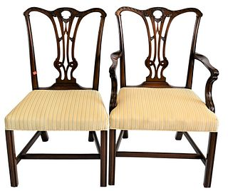 Set of Eight Custom Mahogany Chippendale Style Dining Chairs, to include two arm chairs, six side chairs, with upholstered seats, height 37 1/2 inches