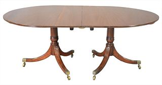 """George IV Mahogany Two Part Oval Dining Table, on double pedestal base, height 29 inches, top 48"""" x 74"""", plus two 28 inch leaves, total open 48"""" x 130"""