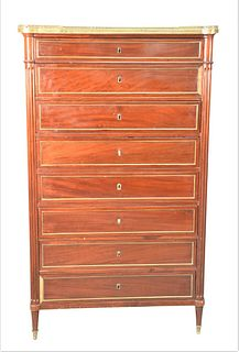 Louis XVI Style Mahogany 8 Drawer Tall Chest, having brass gallery and marble top, one side of marble cracked, height 63 1/2 inches, width 37 inches,