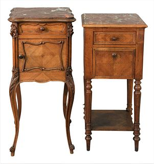 """Two Louis XV Style Tables, each having brown marble tops, one drawer and one door, height 32 inches, top 13"""" x 15""""."""