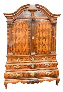 Dutch Three Part Hutch Cabinet, having two doors opening to reveal shelves and drawers, over three large drawers, all with inlaid fronts, set on short