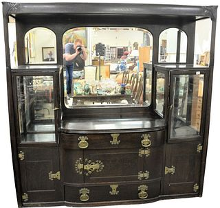 Oak Victorian Sideboard, having curio cabinet sides, art nouveau style, height 80 inches, width 79 inches.