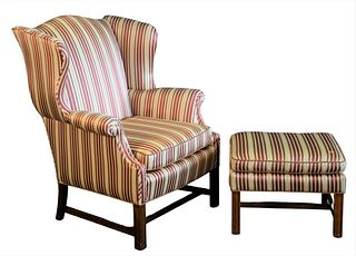 Upholstered Wing Chair and Ottoman, height 41 inches, width 32 inches.