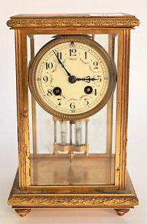 H & H French Brass Mantle Clock, having floral details painted on the face, height 10 inches, width 6 1/4 inches, depth 5 1/4 inches.