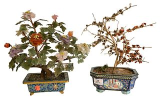 Two Chinese Jade Trees, having flowers and leaves formed from various hardstones, one in a cloisonne planter, the other in a painted metal planter, ov