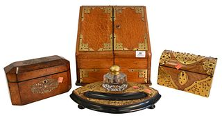 Four Piece Group, to include burl tea box having brass mounts, dome top brass bound letter box, inkwell having brass mounts along with a oak box with