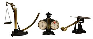 Three Piece Lot, to include a Griffin and George Scale, a fairbanks brass postal scale, along with a brass aneroid barometer/clock and brass tube, tal