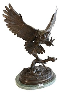 """After Jules Moigniez (French, 1835 - 1894), Owl, bronze with brown patina, inscribed on the base """"J.Moigniez"""", overall height 29 1/4 inches."""