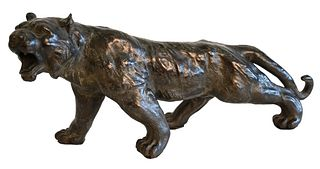 Bronze Sculpture of a Tiger, unsigned, length 18 inches. Provenance: Waterfront Estate, Stamford, CT.