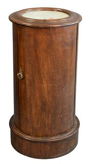 George IV Mahogany Pot Stand, having inset marble top, height 29 inches, diameter 14 1/2 inches.