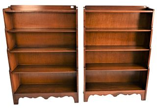 Pair of Stickley Cherry Bookshelves, height 54 inches, width 36 inches.