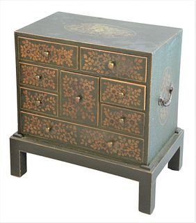 Diminutive Chest Having Eight Drawers, set in fitted base having green paint and painted foliate motif, height 22 inches, width 20 inches, depth 12 in
