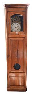 French Fruitwood Tall Clock, Grenier Cadet works, height 83 1/2 inches.