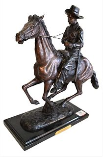 """After Frederic Remington (American, 1861 - 1909), """"Trooper of the Plains"""", bronze with brown patina, inscribed """"Frederic Remington"""" on the base, overa"""
