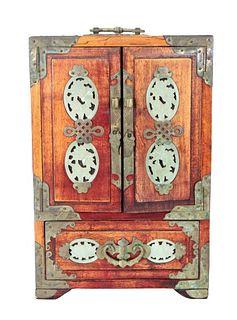 Chinese Jewelry Box with Jade Inserts