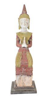 Carved Wiid Polychrome Figure of Teppanoh