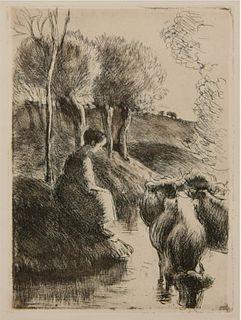 Camille Pissarro - Vachere au Bord de l'Eau (Cowgirl at