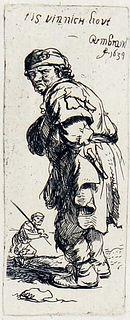 """Rembrandt van Rijn (after) - A Peasant Calling Out """"Tis"""