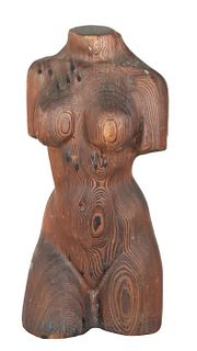 Hand Carved Wood Nude Torso Figure