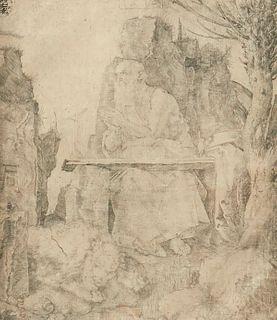 Albrecht Durer St. Jerome by the Pollard Willow Drypoint