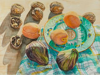 """Janet Fish """"Figs and Apricots"""" Still Life Watercolor"""