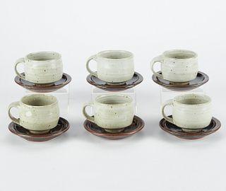 Set of 6 Warren MacKenzie Studio Ceramic Teacups w/ Saucers - Marked