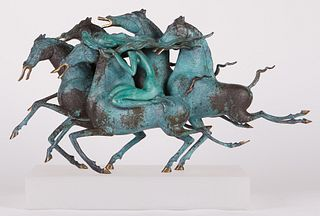 """Tiefeng Jiang """"Emerald Lady"""" Bronze Sculpture w/ Acrylic Base"""
