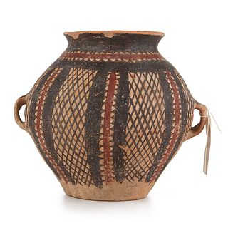 Chinese Terracotta Neolithic Pot w/ 2 Handles