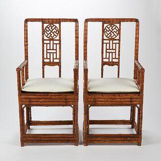 Pair of Chinese Bamboo Chairs w/ White Cushions