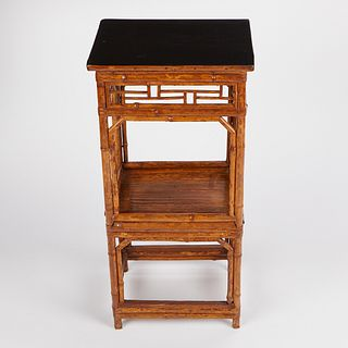 Chinese Bamboo Lacquer 2-Tiered Side Table