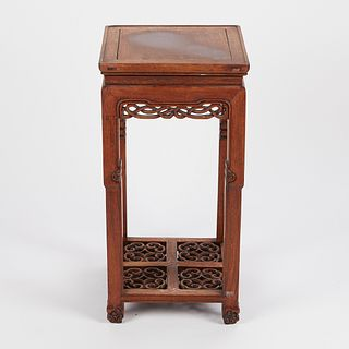Chinese Carved Wooden Stand w/ Pierced Decoration
