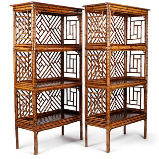 Pair of Chinese Spotted Bamboo Shelves