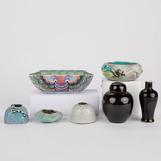 Grp: 7 Chinese 19th C. Porcelain Wares