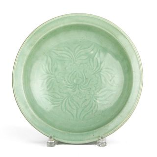 17th c. Chinese Longquan Celadon Incised Charger Dish