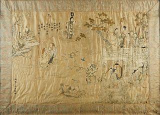 19th c. Chinese Silk Embroidered Garden Scene