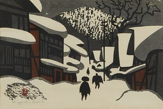 "Kiyoshi Saito ""Aizu in Winter"" Woodblock"