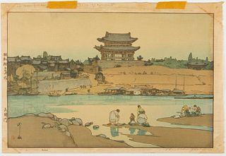 "Hiroshi Yoshida ""Daido Gate"" Woodblock Print"