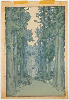 """Hiroshi Yoshida """"Cryptomeria Avenue"""" Woodblock Print"""
