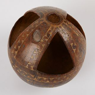 Early New Guinea Carved Coconut Vessel