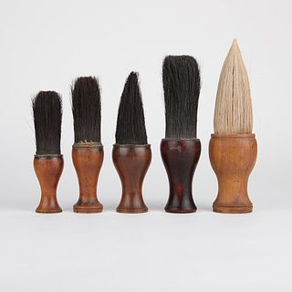 Grp: 5 Chinese Wooden Calligraphy Brushes