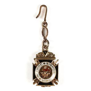 18K Gold Platinum Masonic Pendant