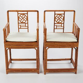 Pair of Chinese Spotted Bamboo Armchairs