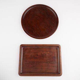 Grp: 2 18th C. Chinese Carved Hardwood Trays